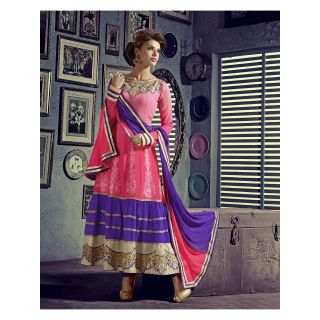 Georgette Thread Work Pink Semi Stitched Long Anarkali Suit (STY-146-1001)