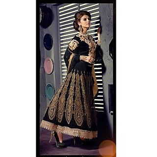 Georgette Thread Work Black Semi Stitched Long Anarkali Suit (STY-146-1002)