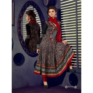 Georgette Thread Work Red Semi Stitched Long Anarkali Suit (STY-146-1006)