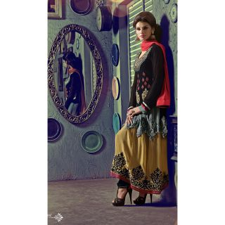 Georgette Thread Work Black Semi Stitched Long Anarkali Suit (STY-146-1007)