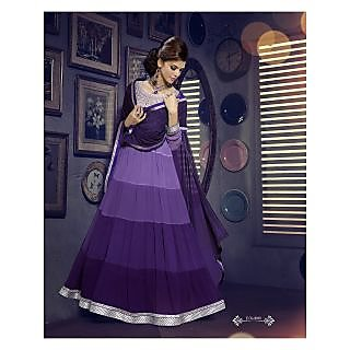 Georgette Thread Work Purple Semi Stitched Long Anarkali Suit (STY-146-1008)