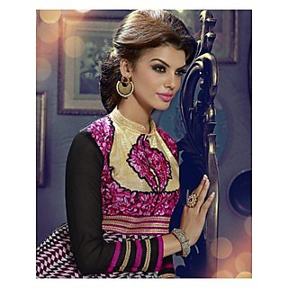 Georgette Thread Work Pink Semi Stitched Long Anarkali Suit (STY-146-1010)