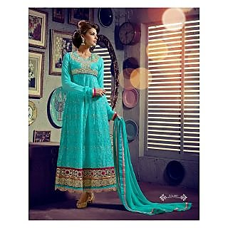 Georgette Thread Work Sky Blue Semi Stitched Long Anarkali Suit (STY-146-1011)