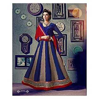 Georgette Thread Work Blue Semi Stitched Long Anarkali Suit (STY-146-1012)