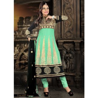 Georgette Thread Work Light Green Semi Stitched Long Anarkali Suit (STY-146-2001 A)