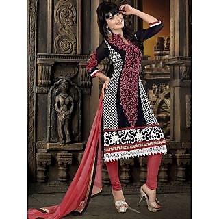 Georgette Thread Work Red Semi Stitched Long Anarkali Suit (STY-146-2004 B)