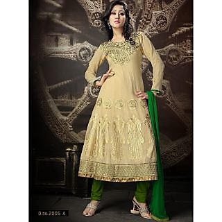 Georgette Thread Work Green Semi Stitched Long Anarkali Suit (STY-146-2005 A)