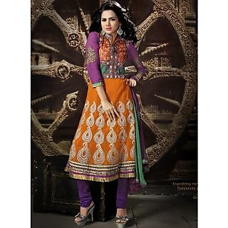 Georgette Thread Work Orange Semi Stitched Long Anarkali Suit (STY-146-2006 B)