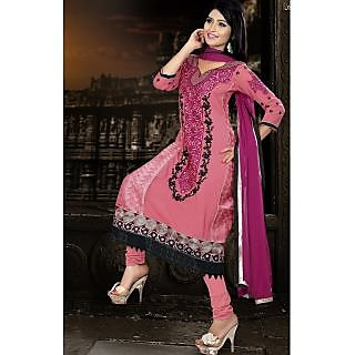 Georgette Thread Work Light Pink Semi Stitched Long Anarkali Suit (STY-146-2007 B)