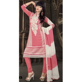 Georgette Thread Work White Semi Stitched Long Anarkali Suit (STY-146-2008 A)