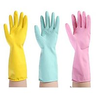 RUBBER HAND GLOVES 6 PAIRS MEDIUM SIZE REUSABLE WASHING CLEANING KITCHEN GARDEN