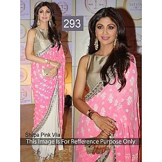 Anbazaar Pink Chiffon Shilpa Pink Villa Saree 293