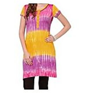 Purple With Yellow Knitted Cotton Kurti