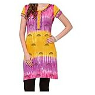 Purple With Yellow Knitted Printed Cotton Kurti