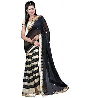 Tiana Stunning Black Colour Chiffon Saree