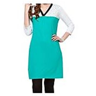 Awesome White With Turquoise Knitted Cotton Kurti