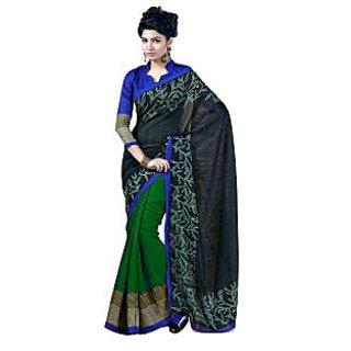 Fabdeal Black & Green Colored Chhapa Silk Printed Saree