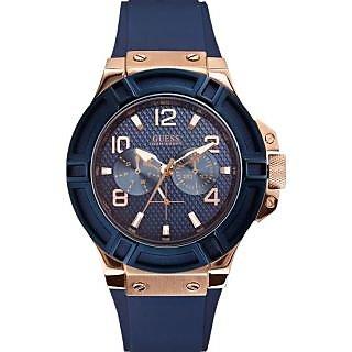 GUESS Men's W0247G3 Rigor Blue & Rose Gold-Tone Silcone Casual Sport Watch