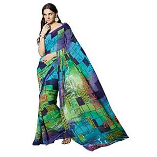 Fabdeal Multi Colored Georgette Printed Saree
