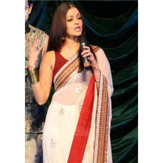 Aishwarya White & Red Bollywood Replica Saree