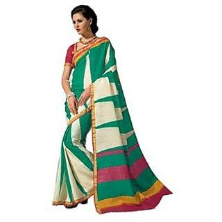 Green And White Geometric Print Raw Silk Saree. Muhenera 2406