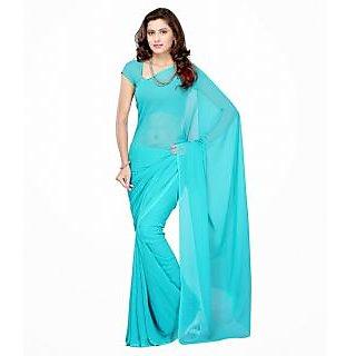 FabPandora Exclusive Fancy  Designer Plain Solid Sky Blue Faux Georgette Saree