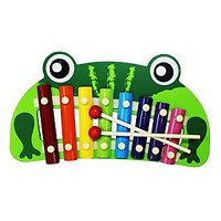 Cute Frog Shape Multicolor Wooden Xylophone For Kids Musical Toy With 8 Notes-4