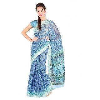 Rajasthani Fancy Booti Design Blue Kota Doria Sari 245
