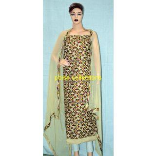 Patiala Phulakri Cotton Overall Suits With Chiffon Dupatta - 75119408
