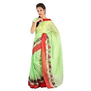 Red Border Hand Weaved Green Cotton Doria Saree 247