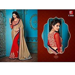 Indian Designer Bollywood Replica Actress Sari Chickoo & Red Bridal Saree
