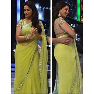 Madhuri Dixit Lime Color Bollywood Style Saree