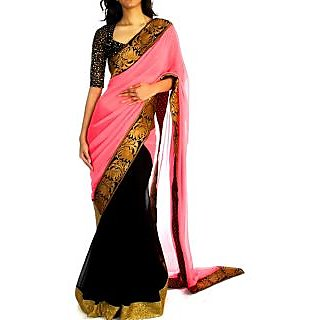 Designer Wear Pink And Black Saree