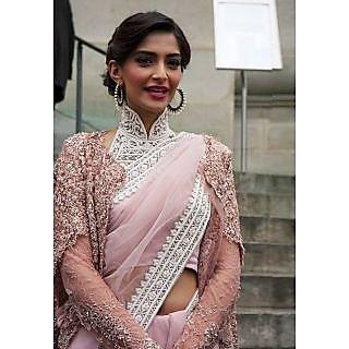 Sonam Kapoor Pink Beauty Bollywood Replica Saree