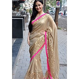 Elli Avram Silky Cream Saree With Gold Lace Border
