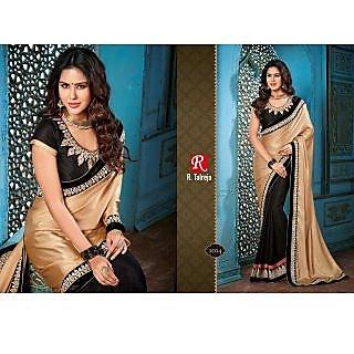 Indian Designer Bollywood Replica Actress Black Chikoo Gold Bridal Wedding Saree