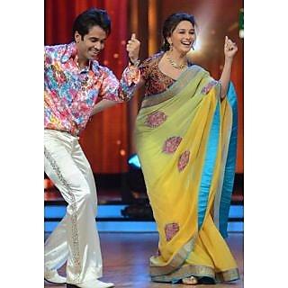 Madhuri Dixit Yellow Green Bollywood Replica Saree