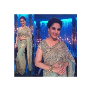 Madhuri Dixit Net Saree With Golden Work