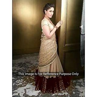 Kareena Kapoor Net Border Work Cream Semi Stitched Bollywood Style Lehenga