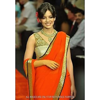 Orange & Golden Bollywood Replica Saree
