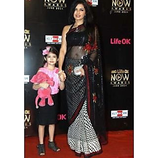 Designer Wear Bollywood Style Black Net Saree