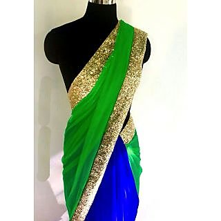 Designer Wear Green And Blue Saree