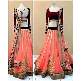 Designer Wear Pure Net Lehenga With Velvet Blouse