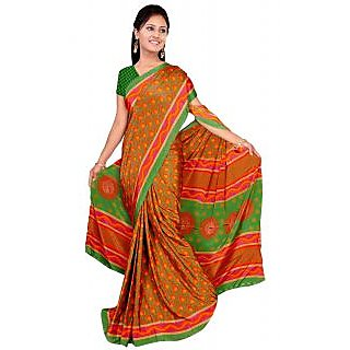 Khushali Multicolor Flower Print Silk Crepe Saree With Blouse Piece - 75126228