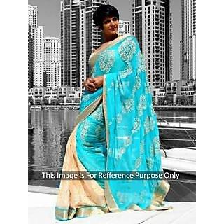 Mandira Bedi Skyblue And Cream Bollywood Style Saree
