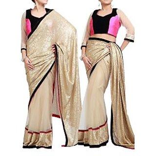 Gold Half Net Half Sequin Saree With Silk Blouse