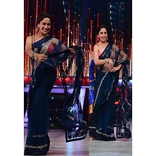 Madhuri Dixit Navy Blue Bollywood Replica Saree
