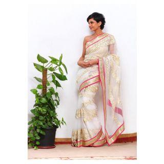 Mandira Bedi Off White Net Bollywood Replica Saree