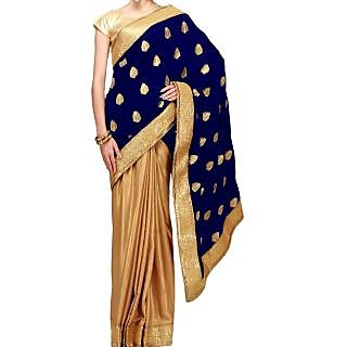 Half And Half Saree Featuring In Gold And Navy Blue