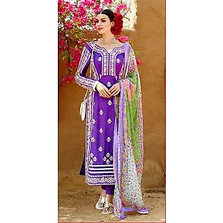 KFHub Purple Straight Long Embroidered With Print Pure Georgette Dress Material